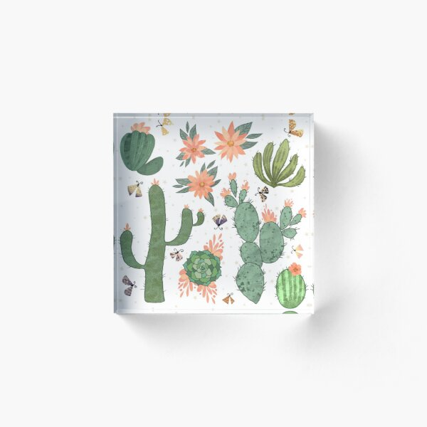 Succulents in White Acrylic Block