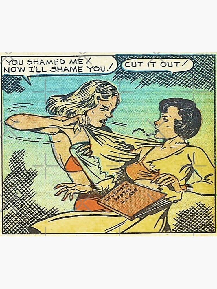 Vintage Comic Book Fighting Women Shame On You Old Comic Strip Pin-up Graphic by thespottydogg
