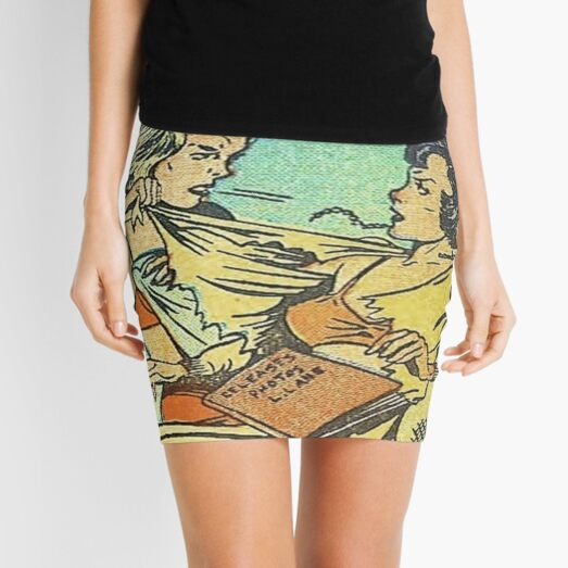 Vintage Comic Book Fighting Women Shame On You Old Comic Strip Pin-up Graphic Mini Skirt