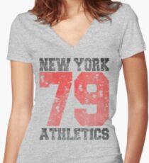 New York athletics 79 Women's Fitted V-Neck T-Shirt