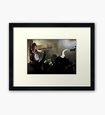 But seriously, he totally shot first. Framed Print
