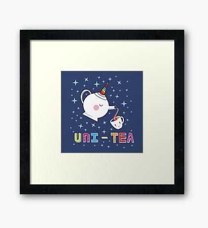 Uni-Tea - Cute Unity Rainbow Tea Pot & Cup Framed Print