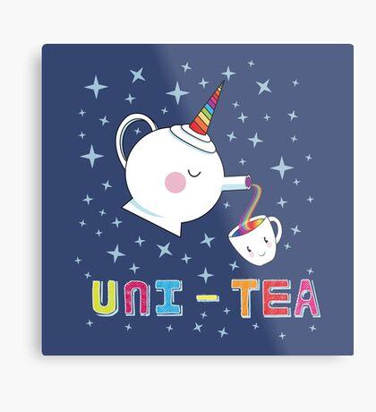 Uni-Tea - Cute Unity Rainbow Tea Pot & Cup Metal Print