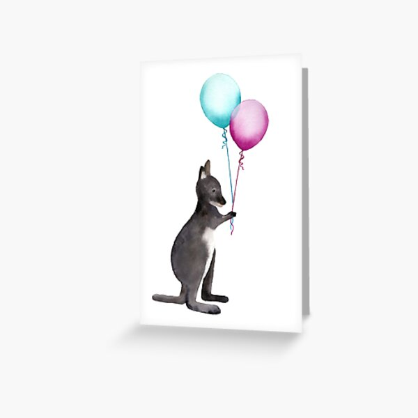 Wallaby With Balloons Greeting Card