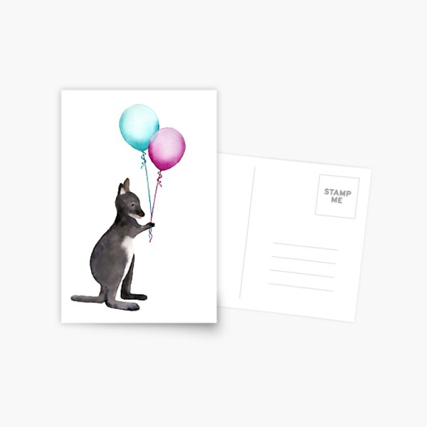 Wallaby With Balloons Postcard