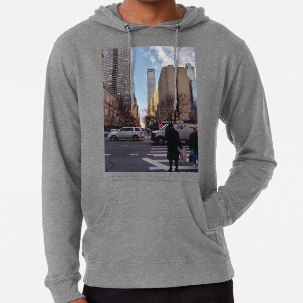Metropolitan area, New York, Manhattan, Brooklyn, New York City, architecture, street, building, tree, car, pedestrians, day, night, nightlight, house, condominium,  Lightweight Hoodie