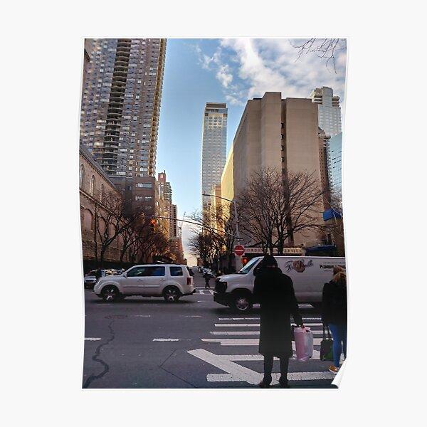 Metropolitan area, New York, Manhattan, Brooklyn, New York City, architecture, street, building, tree, car, pedestrians, day, night, nightlight, house, condominium,  Poster