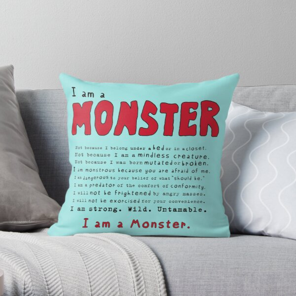 Monster Creed - Red Throw Pillow