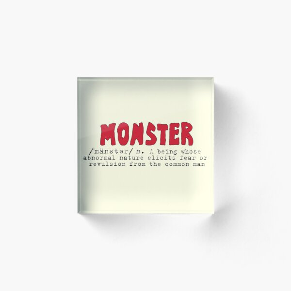 Monster Definition - Red Acrylic Block