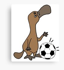 Humorous Duck-billed Platypus Playing Football Cartoon Canvas Print