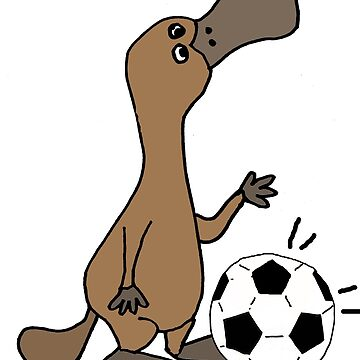 Humorous Duck-billed Platypus Playing Football Cartoon by naturesfancy