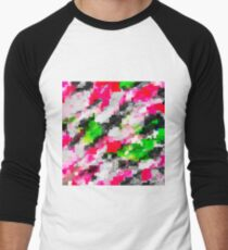 psychedelic geometric square pixel pattern abstract in pink green Men's Baseball ¾ T-Shirt