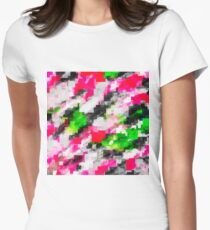 psychedelic geometric square pixel pattern abstract in pink green Women's Fitted T-Shirt