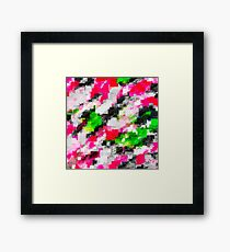 psychedelic geometric square pixel pattern abstract in pink green Framed Print