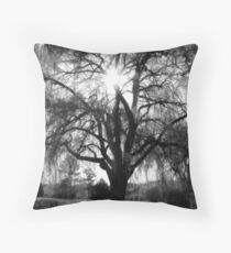 Sun through a Willow Tree - Black&White Throw Pillow