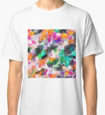 psychedelic geometric square pixel pattern abstract in orange green pink blue Classic T-Shirt