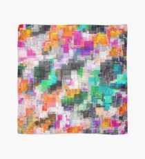 psychedelic geometric square pixel pattern abstract in orange green pink blue Scarf