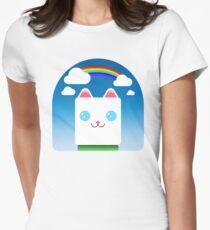 white cat in the garden Women's Fitted T-Shirt