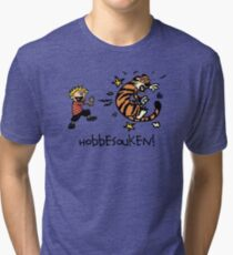 Hobbesouken! - Calivn and Hobbes Mashuip Tri-blend T-Shirt