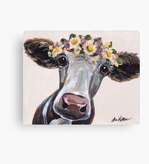 Cow art, Farmhouse Flower Crown Cow  Canvas Print