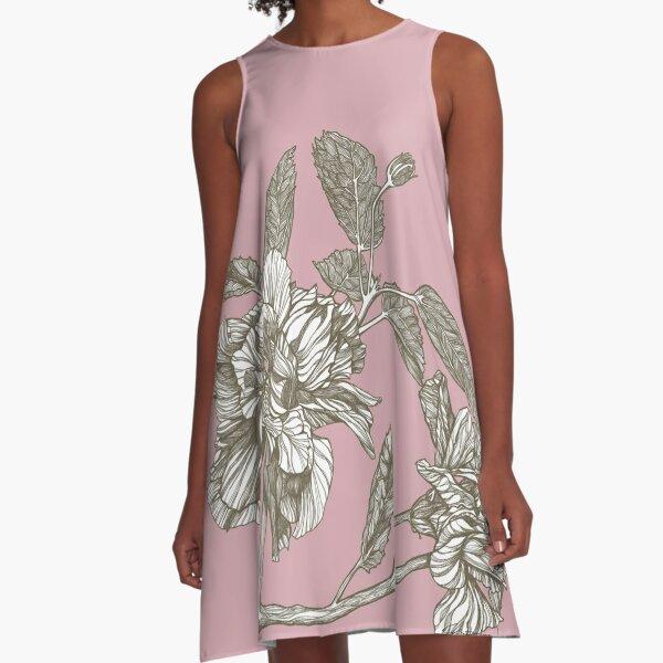 HYBRID HIBISCUS BRANCH A-Line Dress