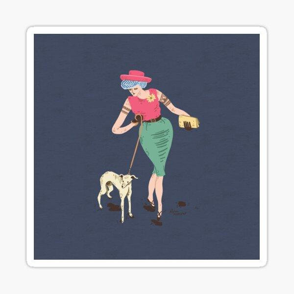 Woman with dog Sticker