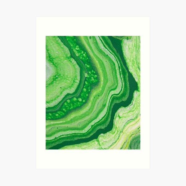 Green Geode Acrylic Pour Art Print