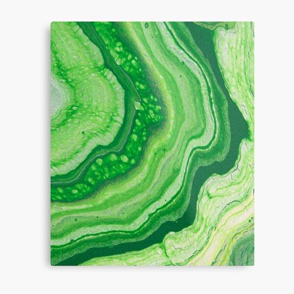 Green Geode Acrylic Pour Metal Print