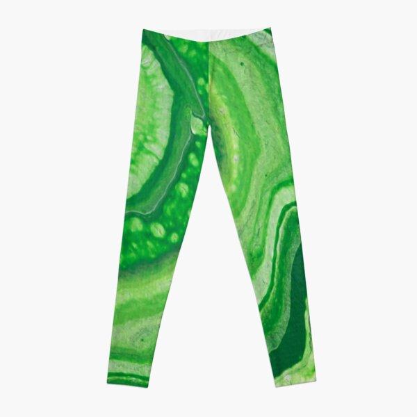 Green Geode Acrylic Pour Leggings