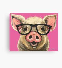 Pig with Glasses art, Cute pig art Canvas Print