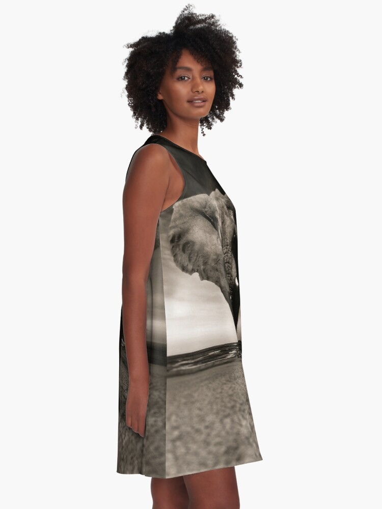 Alternate view of Elephant Black and White Photo-realistic Print  A-Line Dress