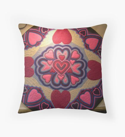My Art 1 - Hearts Sand Mandala  Throw Pillow
