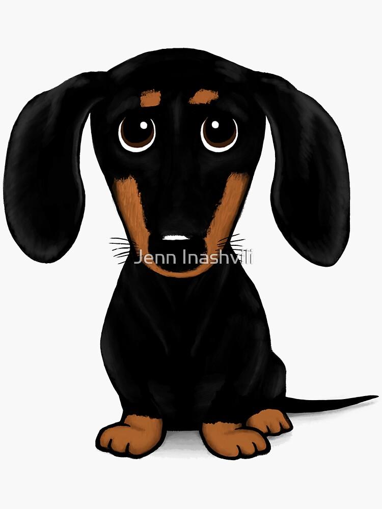 Cute Black and Tan Smooth Coated Dachshund Cartoon Dog by ShortCoffee