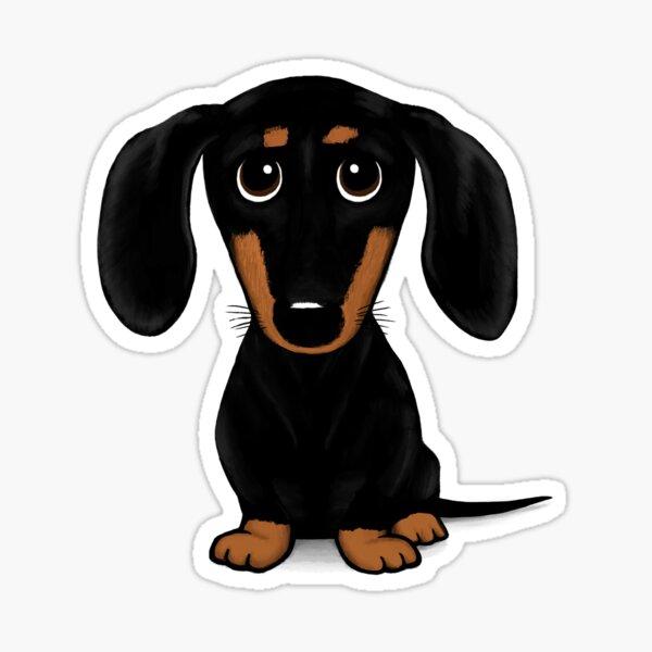 Cute Black and Tan Smooth Coated Dachshund Cartoon Dog Sticker