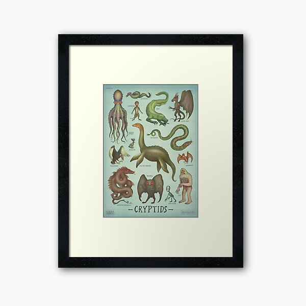 Cryptids - Cryptozoology species Framed Art Print