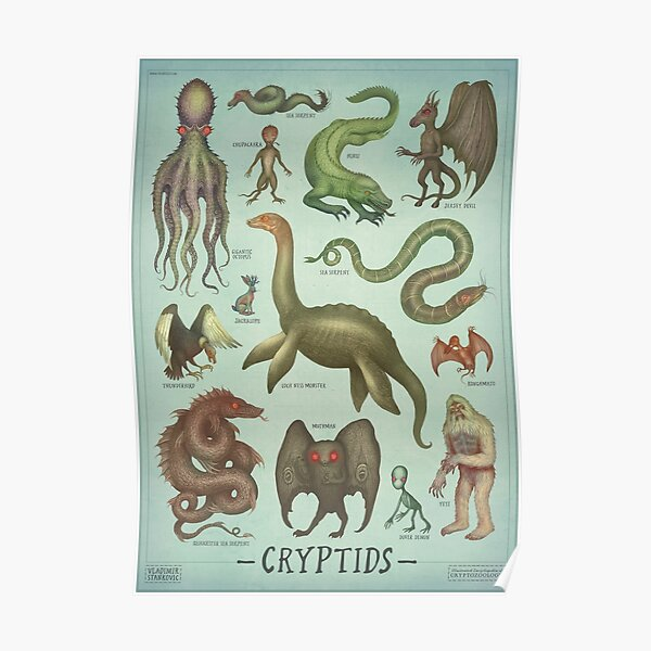 Cryptids - Cryptozoology species Poster
