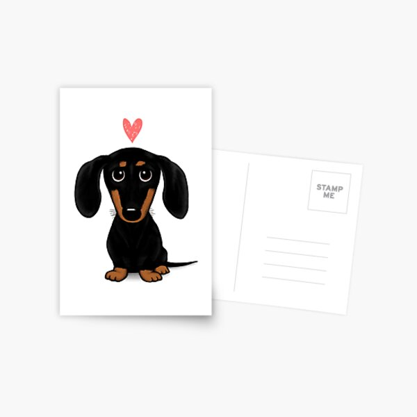 Black and Tan Dachshund with Heart   Cute Cartoon Wiener Dog Postcard