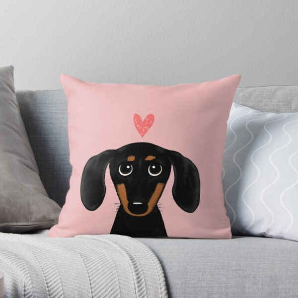 Black and Tan Dachshund with Heart   Cute Cartoon Wiener Dog Throw Pillow