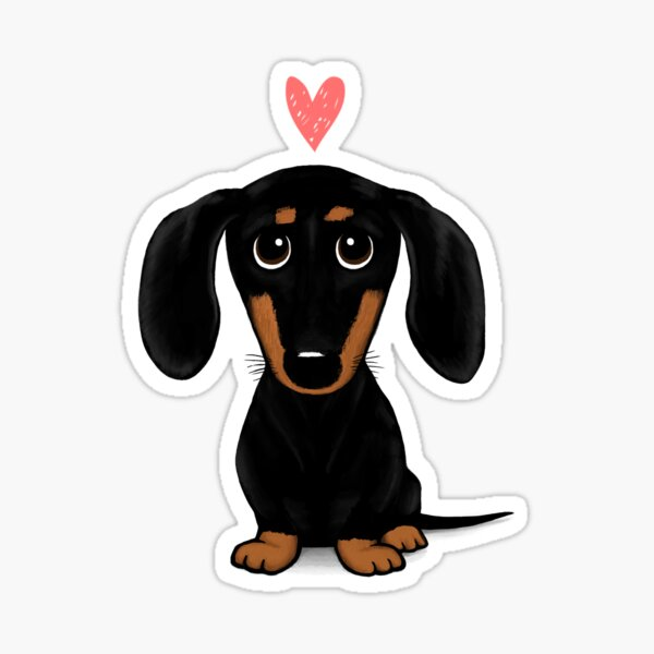 Black and Tan Dachshund with Heart | Cute Cartoon Wiener Dog Sticker