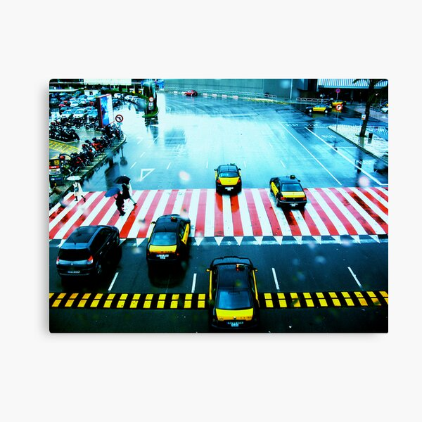 Cabs & the Candy striped crosswalk Canvas Print