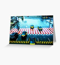 Cabs & the Candy striped crosswalk Greeting Card