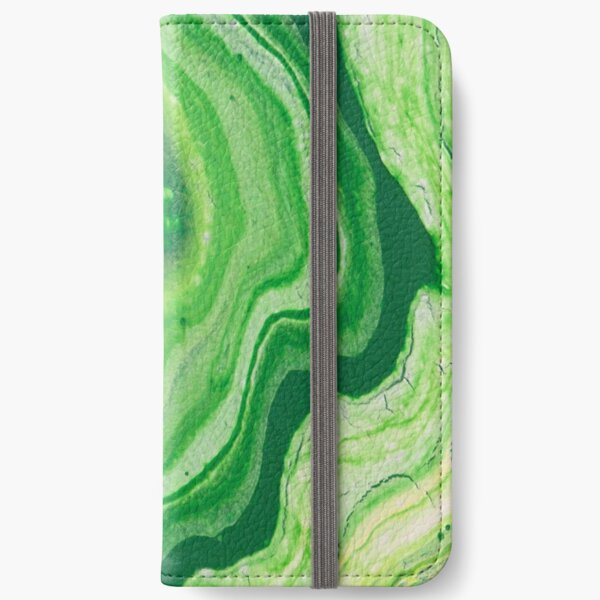 Green Geode Acrylic Pour iPhone Wallet