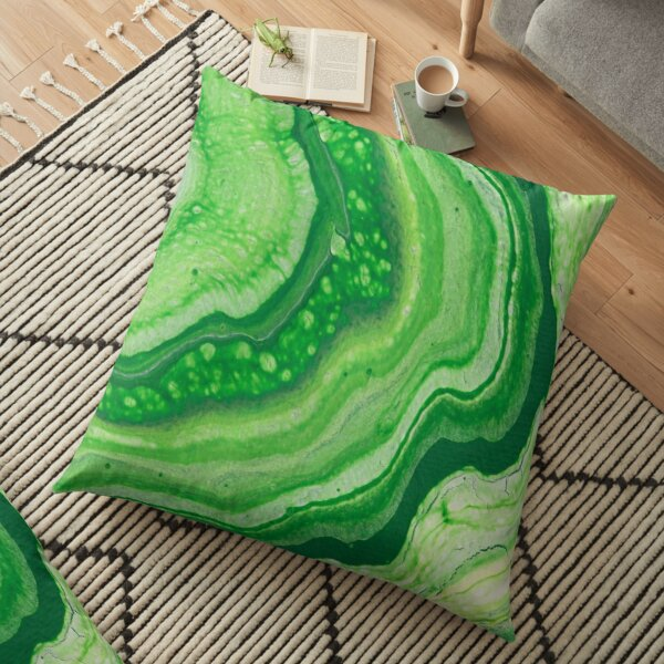 Green Geode Acrylic Pour Floor Pillow