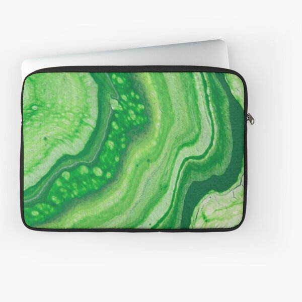 Green Geode Acrylic Pour Laptop Sleeve