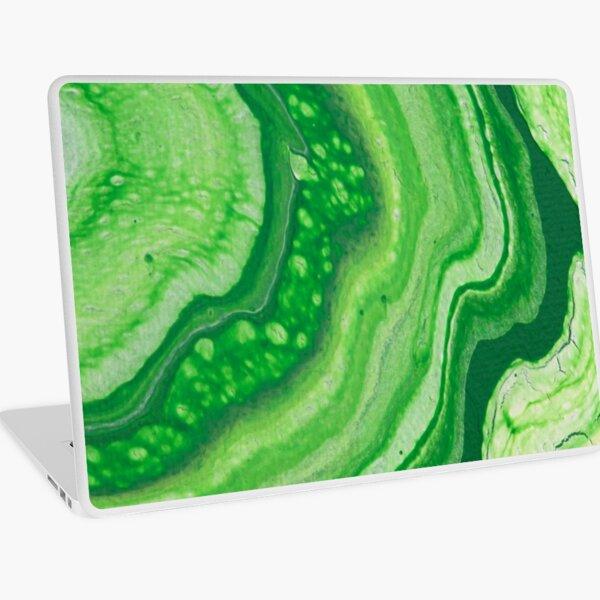 Green Geode Acrylic Pour Laptop Skin