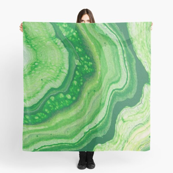 Green Geode Acrylic Pour Scarf