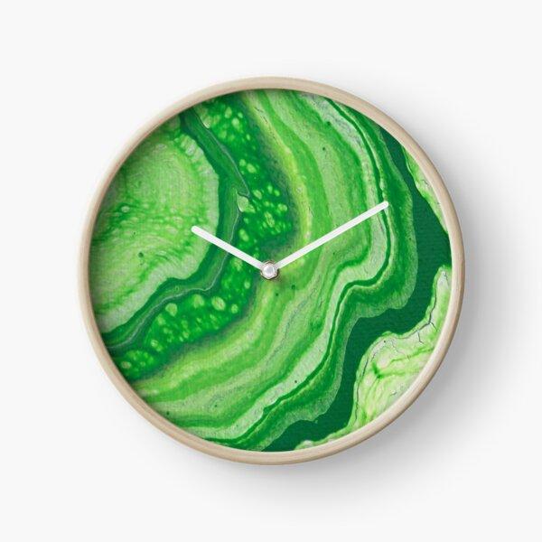 Green Geode Acrylic Pour Clock