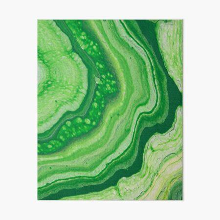 Green Geode Acrylic Pour Art Board Print