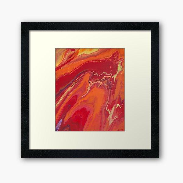 Sunset Geode Acrylic Painting Framed Art Print