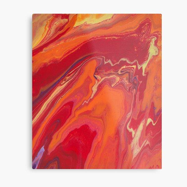 Sunset Geode Acrylic Painting Metal Print